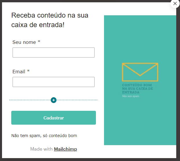 popup do mailchimp